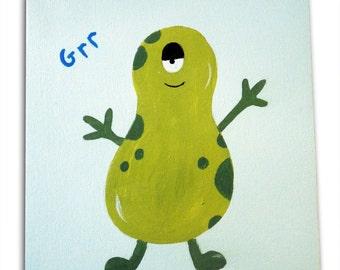 Monster Painting /Alien Canvas / Children's Art / Kids / Nursery Decor / Boys Bedroom