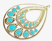 2 pcs of gold plated teardrop with blue enamel  54x71mm