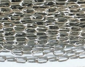 32 ft of Light Antique silver small oval chain 3.6x2mm, platinum color plated small brass chain, bulk antique silver chain