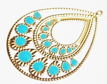 4 pcs of gold plated teardrop with blue enamel  54x71mm
