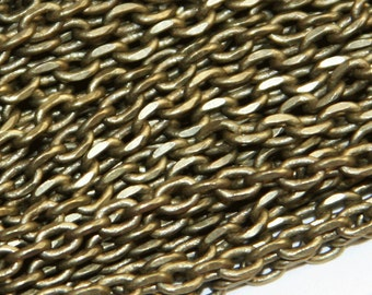 10 ft of antique brass fancy Chain , antique brass faceted chain 3.8x2.8mm