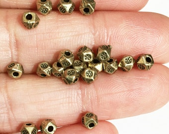 45 pcs antique brass polygon spacer beads 3x3.5mm,  metal spacer beads