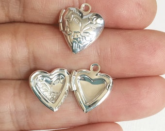 5  Heart Locket Pendant 13x15mm, puff heart locket, locket pendant, silver pendant