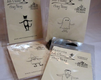 Halloween Rubber Cling Stamp SET by American Art Stamps -  Kitsnbitscraps