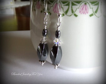 Bridesmaid Earrings: Bridal Party Jewelry, Wedding Jewelry, Bridesmaids Earrings, Wedding Earrings, Gray Bridal earrings, Bridesmaid Gift