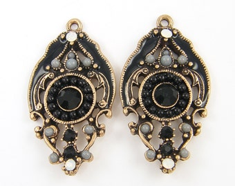 Pair of Black Antique Gold Earring Findings Gray Rhinestone Enamel Boho Gypsy Jewelry Drop Pendant Chandelier Charms |BL7-5|2