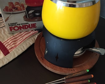 Vintage Yellow 1970s Fondue Pot Set with Forks and Box