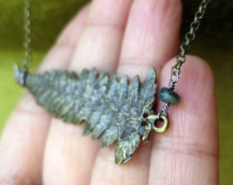 Bronze Fern Necklace with Emerald// gemstone gemmy leaf woods forest elf brass green