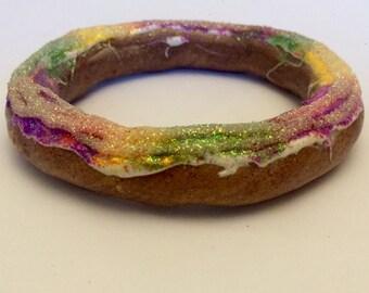King Cake Bangle Bracelet - Polymer Clay