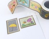 Postage Stamp Washi Tape • Sweet Treats • Rainbow • Banner Garland • Umbrella (182849)