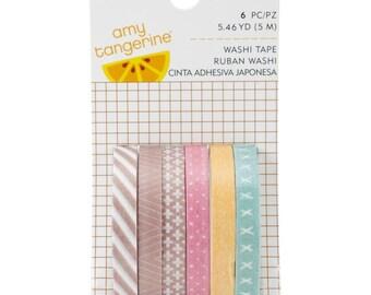 Amy Tan Finders Keepers Mini Washi Tape Rolls 6/Pkg • Slim Washi Tape Set • Thin Washi Tape Set • Amy Tangerine Slim Washi Tape (340250)