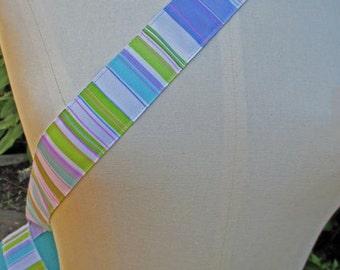 Blue retro stripe yoga mat carry strap sling (not a bag) stripes blues, purple