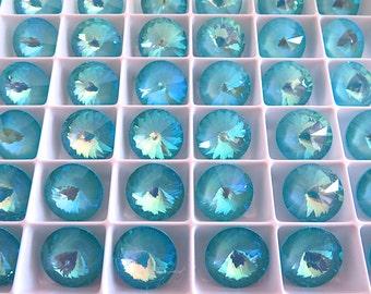 4 Ultra Turquoise AB Swarovski  Rivoli Stone 1122 12mm