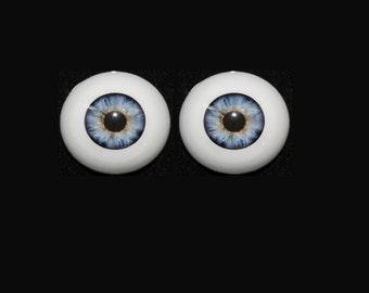 Reborn Baby or Art Doll Pabol Acrylic Eyes light blue specked 22 mm