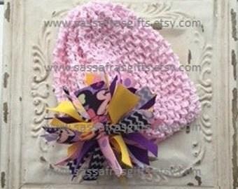 Minnie Mouse Pom Pom Hair Bow--Spikey Ponytail Holder--CHOICE TO ADD--Waffle Headband or Hat