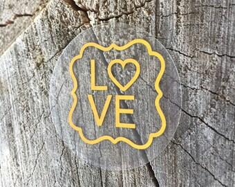 50 Clear Gold Foil Waterproof Mason Jar Mug or Favor Labels - Silver Foil on Clear Sticker - Wedding Favor Labels - LOVE Heart - Gold Clear