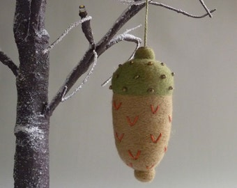 Decorative acorn,  needle felted & embellished tree ornament by Gretel Parker with gift box