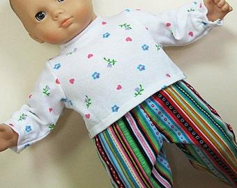 Bitty or Twin Doll Clothes - Multi-colored Corduroy Pants and White with Multi-colored Flowers Turtleneck
