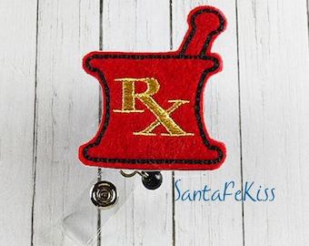 RX Mortar & Pestle ID Badge - Embroidered Felt Badge Reel - Retractable ID Badge Holder - Badge Reel Clip - Medical Badge Reel, Lanyard
