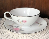 Platinum Rose Japan Cup and Saucer Pink Flowers Porcelain Delicate BEAUTIFUL