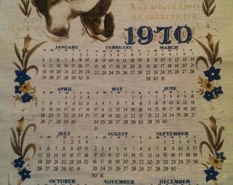 Vintage 1970 Religious Calendar Linen Tea Towel