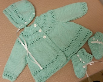 Baby Sweater Set, Baby Girl, Hand Knitted Sweater Bonnet Booties, Mint Green, 3-6 months, Reborn Doll, Shower Gift, Christening, Baptism