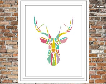 Rainbow Deer - a counted cross stitch pattern