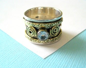 Sterling Silver and Brass Spinner Ring with Blue Topaz Size 6.5