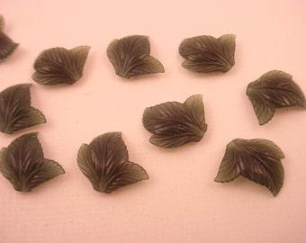 30 Vintage Lucite Green Leaf Stones 12x13
