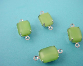 6 Vintage Lime Green Moonstone Octagon connector Charms 10x8 2 Ring closed Backs silver tone