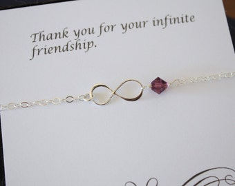 Silver Infinity Anklet, Friendship Anklet, Infinity Jewelry, Best Friend Gift, Thank You Card, Amethyst, Sterling Silver Anklet, BFF Gift