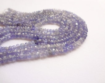 """3.5-4mm Tiny Natural Tanzanite Faceted Rondelle Gemstone Beads - 7.5"""""""