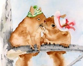 Valentines Day Kiss kissing Squirrel Artwork / Watercolor PRINT / Animal painting Nature wildlife wall decor child's room color field pastel