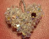 Swarovski Crystal AB Handmade Heart Pendant with single Garnet Crystal