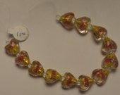 Destash,  12 hand blown heart beads, with gold and rose color accents inside, Wholesale price