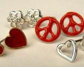 Peace & Love Post Earrings, Vintage 4 Pair Post Earring Mix, Heart Studs, Peace Post Earrings, Crystal Flower Earrings (E297)