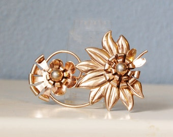 Vintage 1950s Gold Plate Sterling Flower Brooch Large Statement Piece
