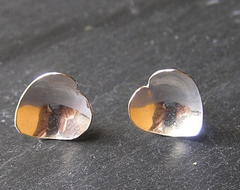 Small Domed Solid Silver Earrings - Heart Shaped