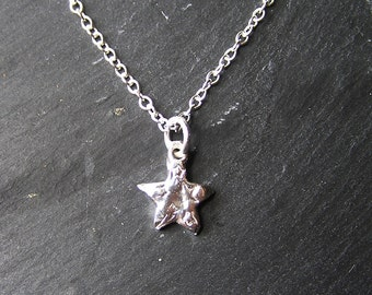 Cute Little Solid Silver Star Necklace