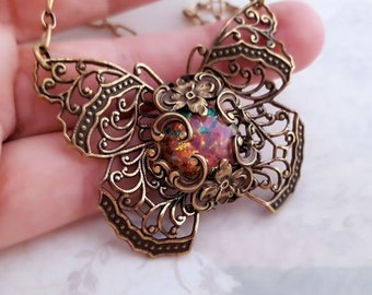 Fire Opal Butterfly necklace, glass opal necklace, Monarch butterfly jewelry, Bohemian antique bronze filigree jewelry, bug, insect jewelry