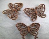 Set of 3 Vintage Homco/Home Interior Brown Wood Look Plastic Butterflies Butterfly Wall Hangings