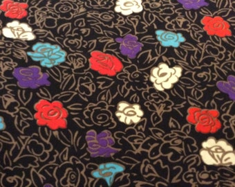 3 1/2 Yards of Vintage Aqua, Purple, Red and White Floral Print Black Georgette Fabric