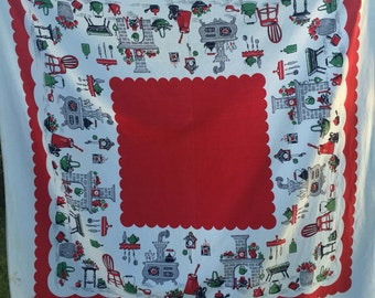 Vintage Red and White Kitchen Print Tablecloth