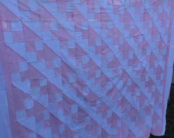 Vintage Pink and White Four Patch Jacob's Ladder Quilt Top