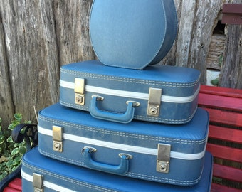 Vintage Retro 4 Piece Blue 1960s Era Luggage Suitcase Set Including Hat Box