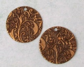 Floral Embossed Round Pendant, Brass Ox, 19 MM, 2 pieces, AB160
