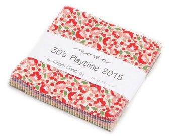 SALE 5 inch MINI charm pack 30's PLAYTIME 2015 Fabric from Chloe's Closet