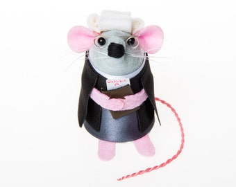 Lawyer Mouse ornament artisan felt rat hamster mice gift for lawyer law student graduate animal lover collector - Bailey the Lawyer Mouse