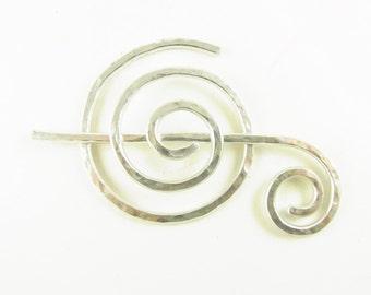 Silver Shawl Pin/Brooch/Slide Minimalist Spiral