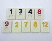 RESERVED FOR SUSAN Plastic Rummikub Tiles or Game Pieces with Numbers Set of 9